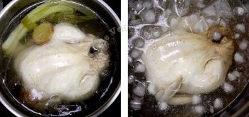 Plunging poached chicken in ice bath