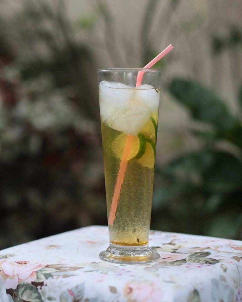 Iced jasmine tea in a tall glass
