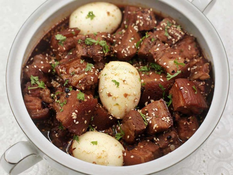 Sweet Spicy Pork Stew with Hard-boiled Eggs and Sesame Seeds