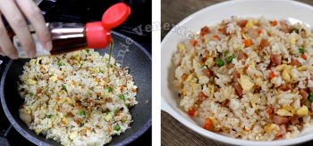 Drizzling sesame seed oil over yang chow fried rice as a final tough