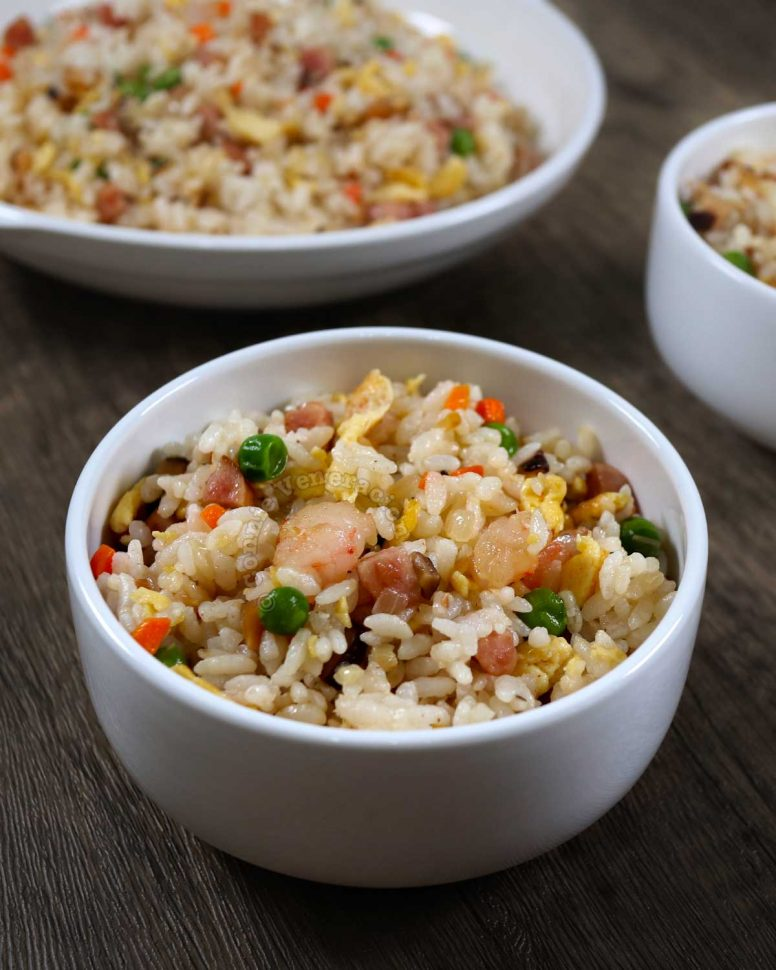 Yang chow fried rice in white bowl