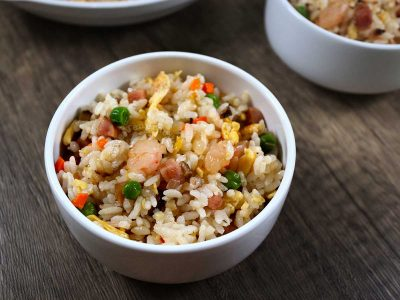 Yang chow fried rice with shrimps, lup cheong sausage, mushrooms, carrot, peas and egg