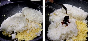 Adding rice to scrambled eggs in wok