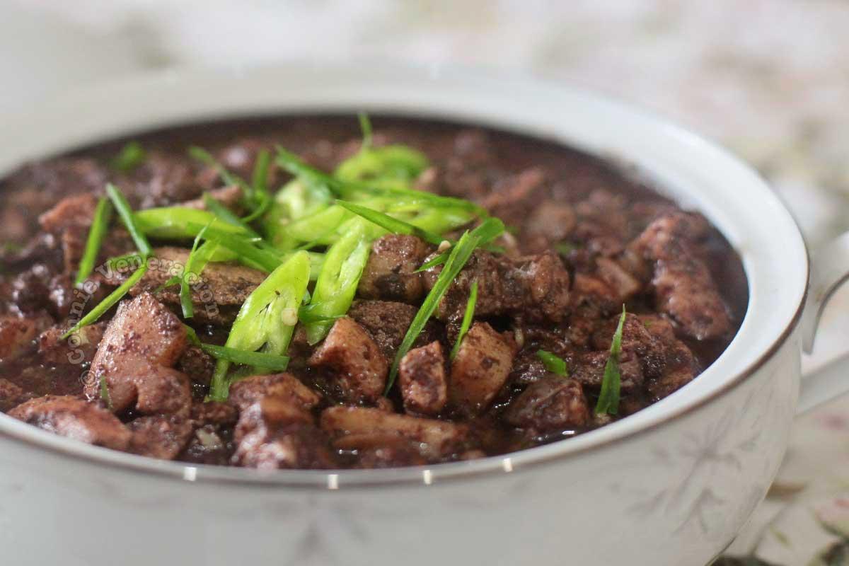 Dinuguan (Pork Blood Stew) in Serving Bowl