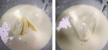 Dipping sliced saba bananas in batter