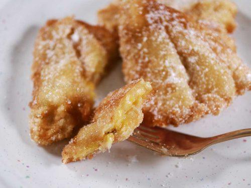 Cross-cut of maruya (Filipino banana fritter)