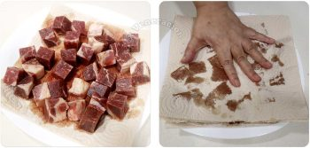 Drying beef cubes between stacks of paper towels