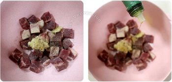 Adding garlic, pepper and olive oil to beef cubes
