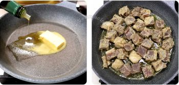 Browning floured beef cubes in butter and olive oil