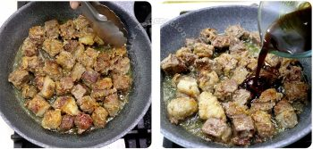 Adding Worcestershire sauce to browned beef cubes in pan