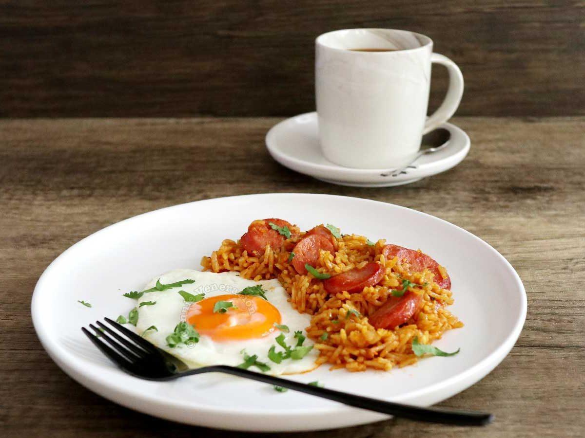 Chorizo, rice and egg breakfast