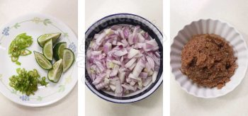 Lime, chilies, chopped shallots and liver spread in bowls