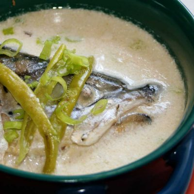 Travally head in coconut broth