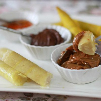 Suman sa ibos served with dulce de leche, Nutella and jam